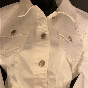 Christopher Banks white jean jacket size L/p